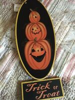 Primitives By Kathy Halloween Vintage Style Pumpkin Head Wall Hanging Sign