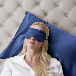 Jasmine-silk-Reine-Seide-Gefullt-Schlaf-Augenmaske-Osen-Augenbinde-Marineblau