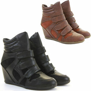 Womens-Trainer-Wedges-Lace-Up-Platform-Ankle-Hi-Tops-Style-Boots-Shoes-Size