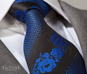 Cobalt-Blue-amp-Black-Floral-Cravate-en-soie-amp-Hanky-Design-Italien