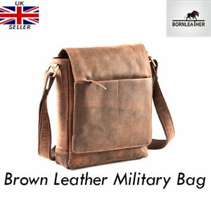 Womens £125 Military Brown Genuine Messenger shoulder Leather Rrp crossbody Bag TqTwBxH