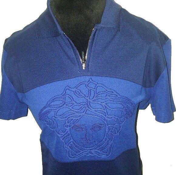 VERSACE bluee T-shirt POLO casual zipped MEDUSA embellished  NEW XS ()