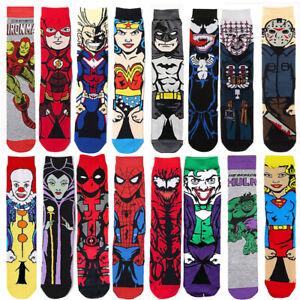 Nouveau-Homme-Coton-Chaussettes-Drole-Cartoon-Superheros-Avengers-Grande-Taille-Robe-Chaussette-9-13