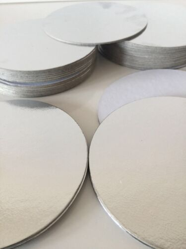 """3/"""" inch ROUND THIN CUT EDGE SILVER cake boards cards sugarcraft christmas tray"""