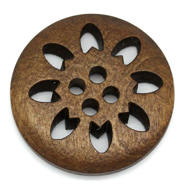 """50PCs Wood Buttons Sewing Snowflake Carved 4 Holes Brown 25mm Dia.(1"""")"""