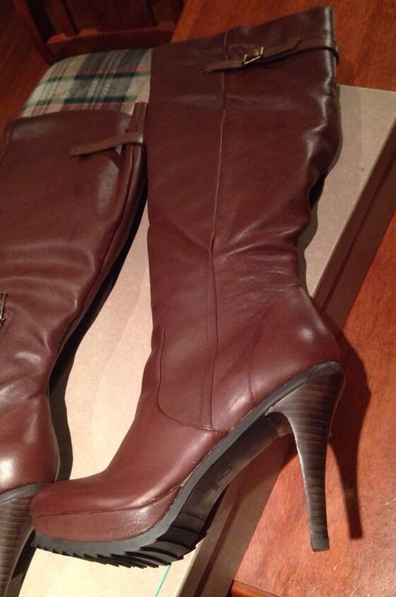 Bacio61  New $450 Brown Leather Boots Heels Wedges Shoes Sandals 39.5 Or 8.5