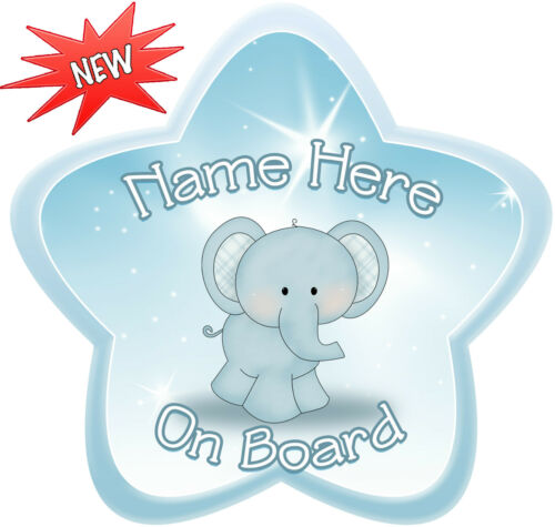 Personalised Dusky Blue Elephant Star Shaped  Baby On Board Car Sign ~ New!