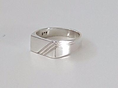 Genuine 925 Sterling Silver Mens / Boys Rectangular Signet Ring All Sizes Durchsichtig In Sicht