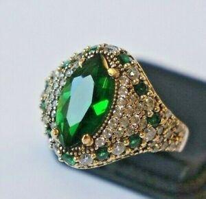 Turkish Handmade Jewelry Sterling Silver 925 Emerald Ring Ladies 6 7 8 9