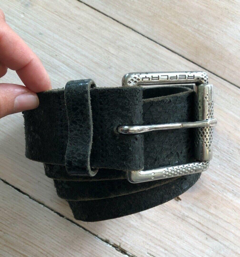 ♥ REPLAY Gürtel schwarz 100 VINTAGE-Style TOP! ECHTES LEDER