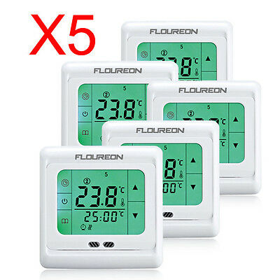 5x LCD Digital Touchscreen Raumthermostat Thermostat Bodenfühler 16A 3m Sensor