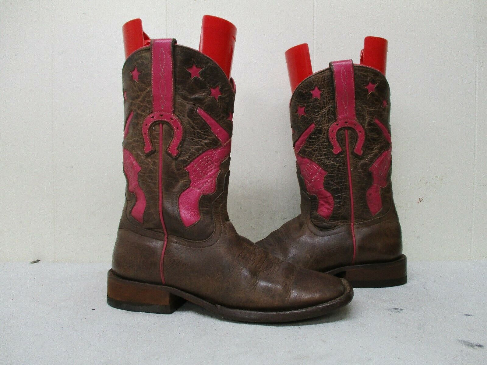 Macie Bean Brown Leather Square Toe Cowboy Boots Womens Size 7 M Style HP-1039