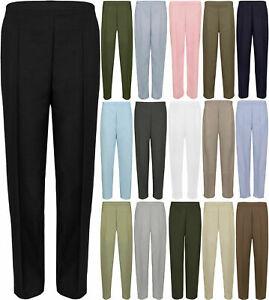 Ladies-Womens-Half-Elasticated-Stretch-Waist-Work-Trousers-Pockets-Pants-UK-8-26