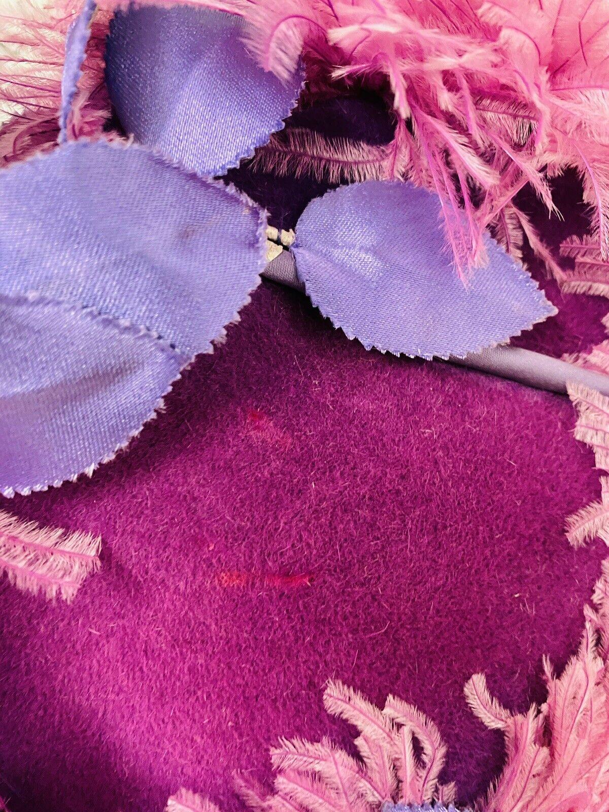 VINTAGE 1940's SUZY LEE Purple Feather Flowers Ha… - image 6