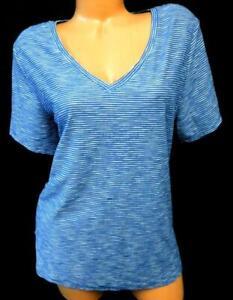 Old-navy-blue-white-striped-short-sleeve-v-neck-plus-size-everywear-top-XL