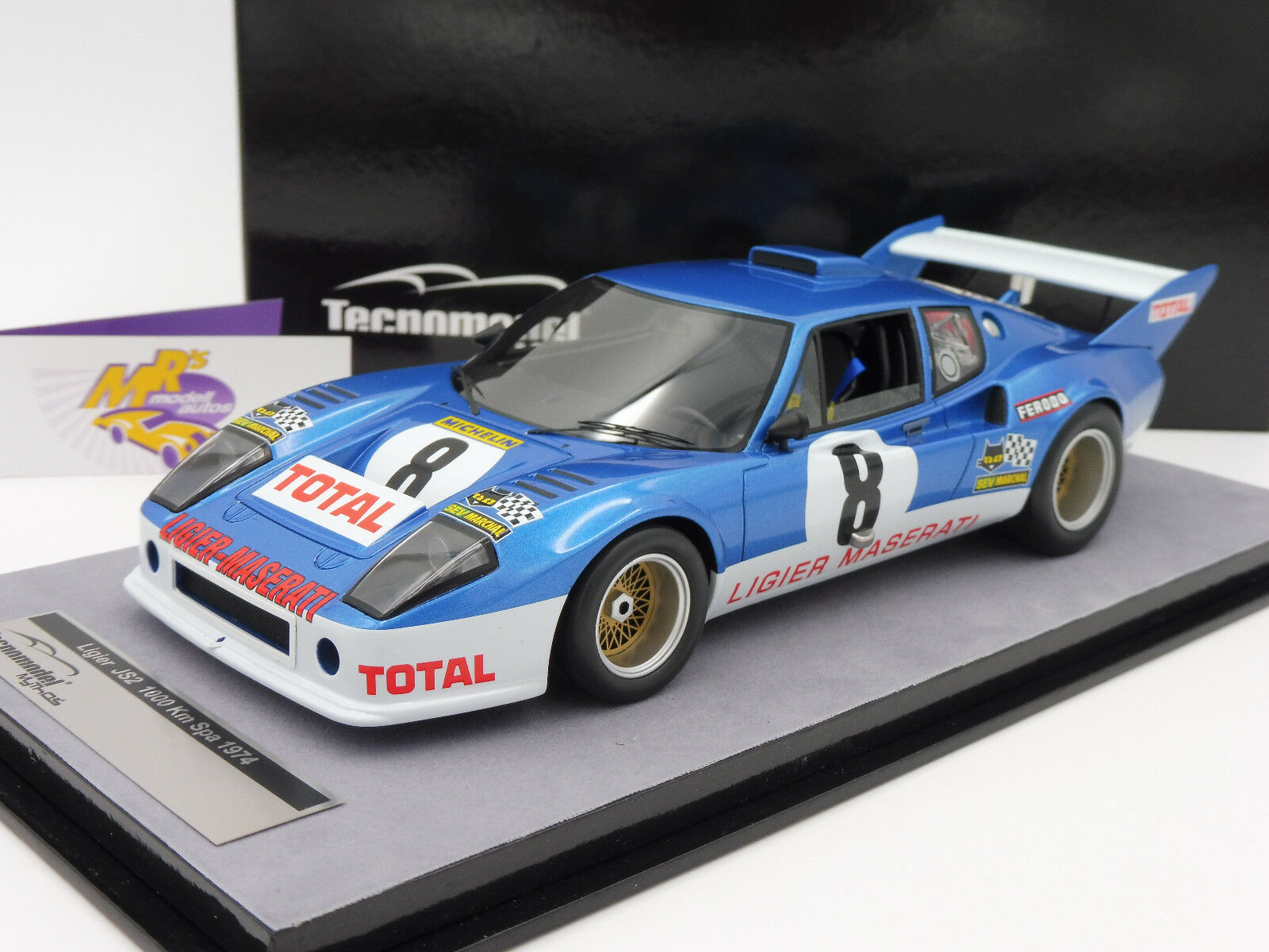 Tecnomodel TM18-99C Ligier JS2 No. 8 1000 KM Spa 1974 Chasseuli - Migault 1 18