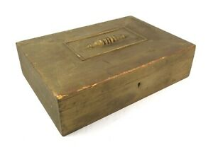 Antique Victorian Ornate Gold Painted Wood Storage Trinket Box
