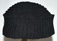 """RARE Vintage Black Crocheted Knit Womens Beanie Hat with 2.5 """" Sides One Size"""