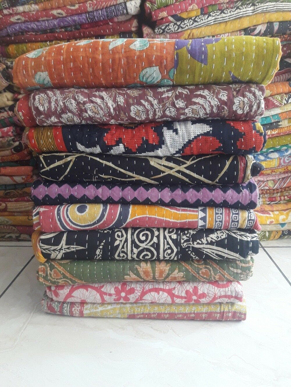 Indian Vintage Kantha Quilts Body Warmer Kantha Quilt Twin Multicolor Lot 5Pcs