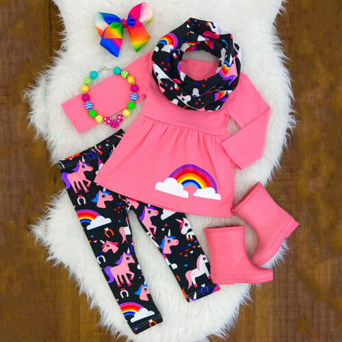 Kids Baby Girls Outfits T-shirt Tops+Pants Set Toddler Autumn Clothes Tracksuit