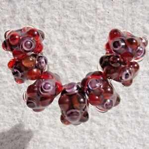 ZIN-Set-7-Handmade-Art-Glass-Beads-Flaming-Fools-Lampwork-Art-Glass-SRA