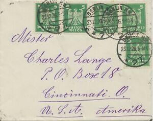 DEUTSCHES-REICH-1926-Reichsadler-5-Pf-5x-extrem-selt-MeF-BERLIN-NW-7-n-USA