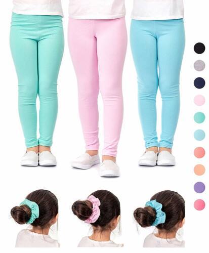 DEAR SPARKLE Girls/' Leggings 3 Pack Girl Stretch Kids Toddler Pants Hair Ties