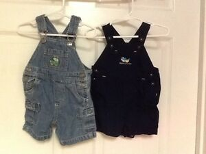 e7fcba2cc Carters size 0 3 months 2 pair of bib short overalls blue jeep shark ...