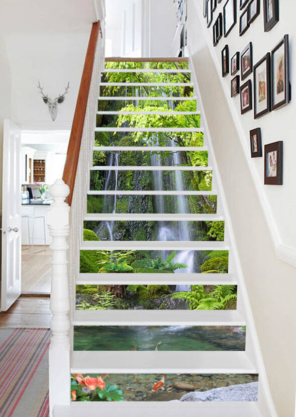 3D Cliff Streams 62 Stair Risers Decoration Photo Mural Vinyl Decal Wallpaper AU