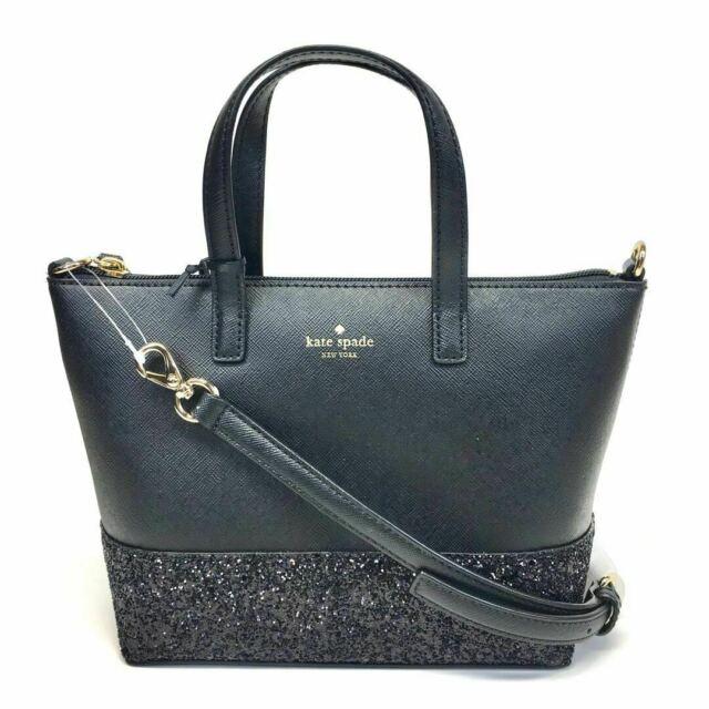 Kate Spade New York Ina Greta Court Glitter Crossbody Handle Handbag Black