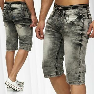 Herren-Jeans-Shorts-3-4-Print-Dehnbund-Bermuda-Sommer-Hose-Used-Waschung-Stretch
