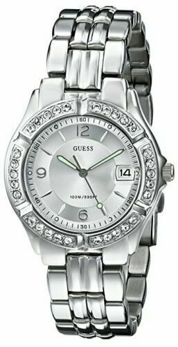 New Guess Women G75511M Round Dial Crystals Stainless Silver Band Date Watch