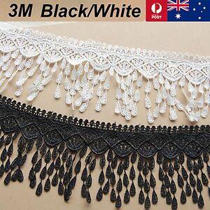 New-3M-X-9cm-Lace-Fabric-White-Black-Chiffon-Trim-Craft-Polyester-Cloth-Flower