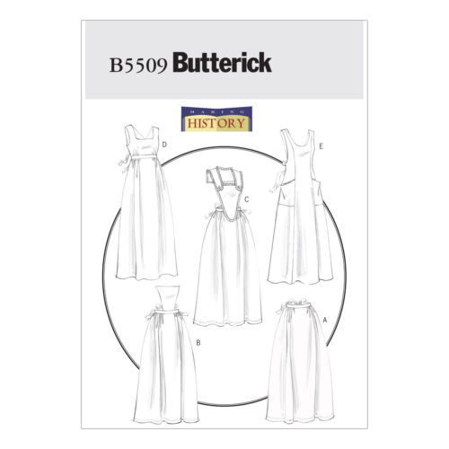 Butterick 5509 Sewing Pattern to MAKE Historic Full-Length Aprons 8-18 Cosplay