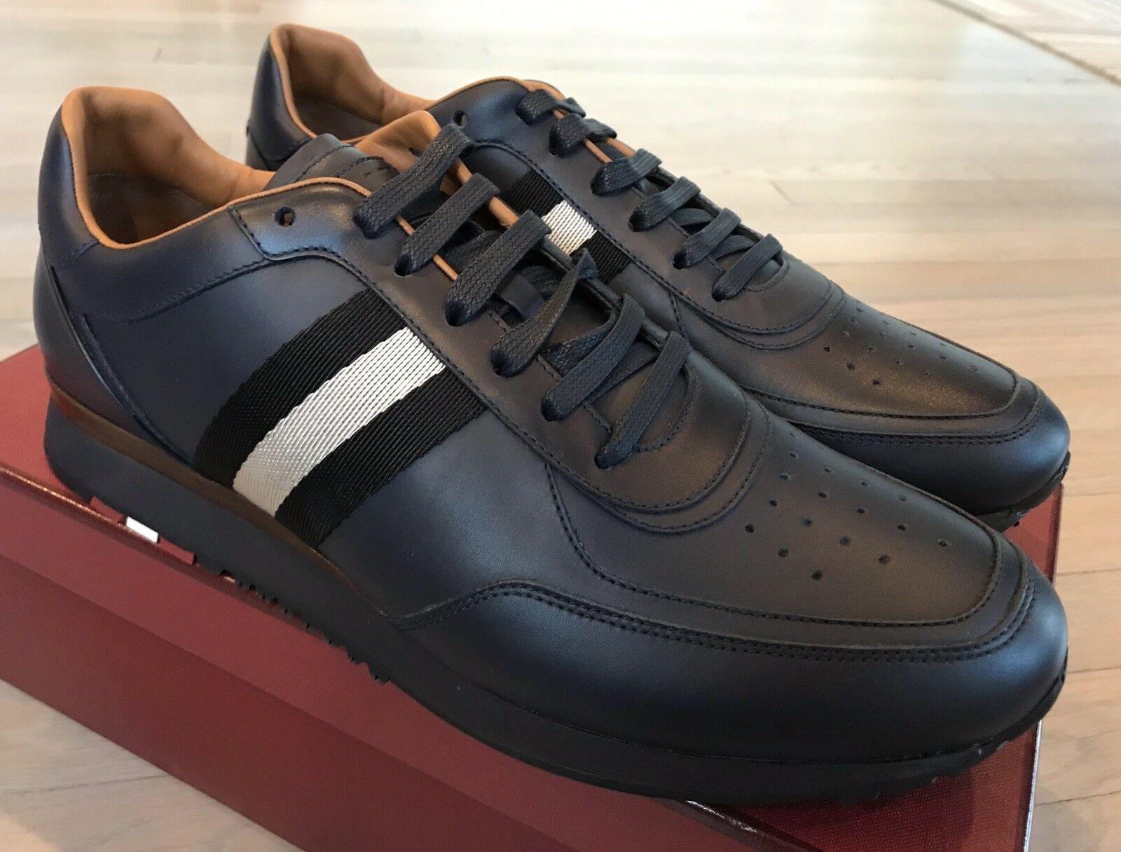 700  Bally Aston bluee Ink Leather Sneakers size US 13 Made Switzerland