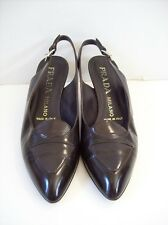 Prada Brown Leather Slingback Pumps sz 8 euro 38 Made in Italy Low Heel!