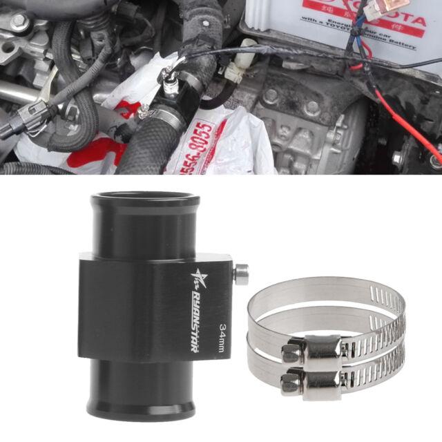 Water Temp Temperature Joint Pipe Sensor Gauge Radiator Hose Adapter 34mm Black