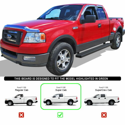 """6/"""" Black iBoard Running Boards Nerf Bars Fit 04-08 Ford F150 Super Cab"""