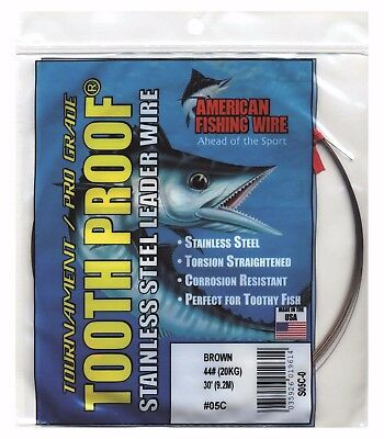 AFW TOOTH PROOF STAINLESS STEEL LEADER-Single Strand Wire-140LB Test 30FT BROWN