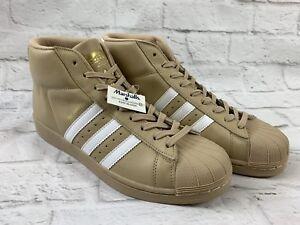 Men s Khaki Tan Adidas Pro Model High Top Shell Toe Shoes Size 9 NEW ... 2d4f9e219