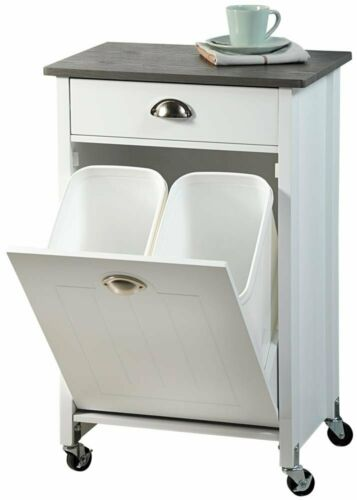 practical and stylish kitchen White kitchen trolley with waste disposal basket