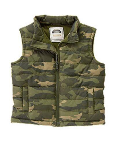 NWT Gymboree Boys S/'More Style Camo Puffer Vest Size 6-12 12-24 /& 2T-3T