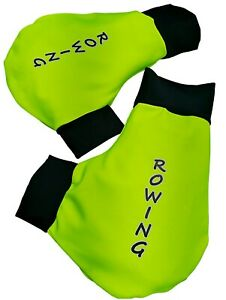 Ruderhandschuhe neon grün /schwarz mit Aufdruck, Rudern, Rowing, Poggies