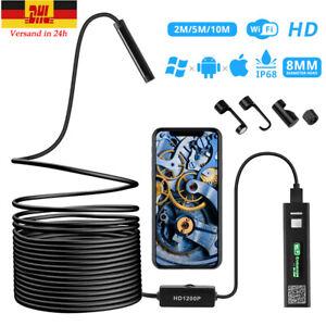 DE 1-10M WiFi Endoskop USB Endoscope Inspektion Kamera 8 LED für iPhone Android