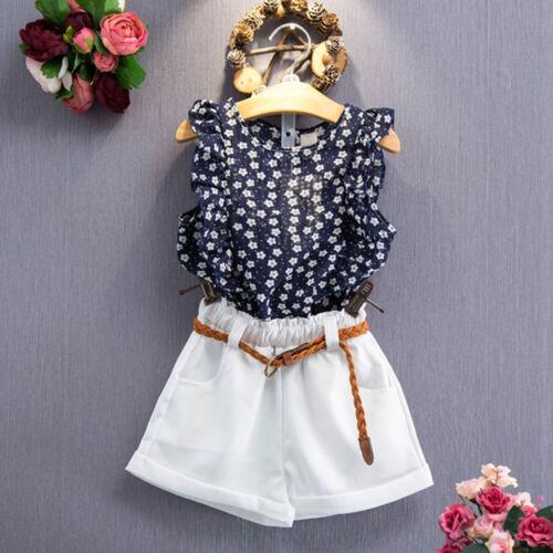 3PCS Toddler Kids Baby Girls Summer Outfit Clothes T-shirt Tops+Shorts Pants Set