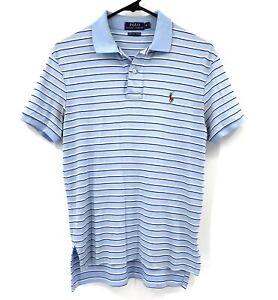 Polo Ralph Lauren Mens Shirt Small Blue Stripe Short Sleeves Pima Soft Touch