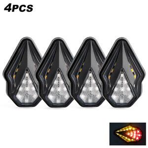 4X 12V Motorcycle LED Turn Signals Blinker Indicator Lights Amber//Red Lamps DRL