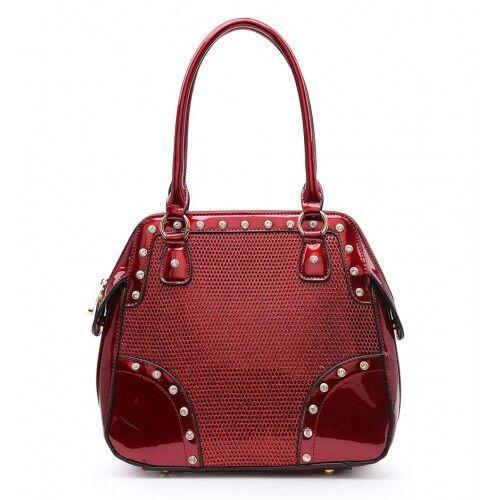 Ladies Patent Diamante Stud Handbag Designer Shoulder Bag Glitter Tote MA36262