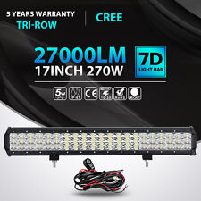 """Tri-row CREE 17inch 270W LED Light Bar Combo Offroad Driving 4WD Truck ATV 18"""""""