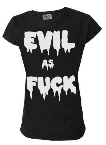 "Ladies Black Darkside T Shirt /""Evil As F*ck/"" Slogan Edgy Dark Cool Satan Gothic"